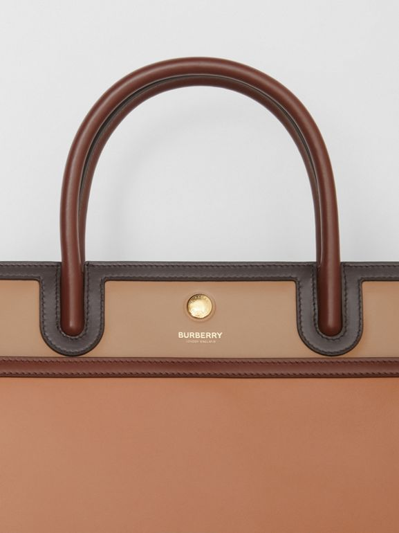 Medium Colour Block Leather Two-handle Title Bag in Soft Fawn - Women | Burberry United States - cell image 1