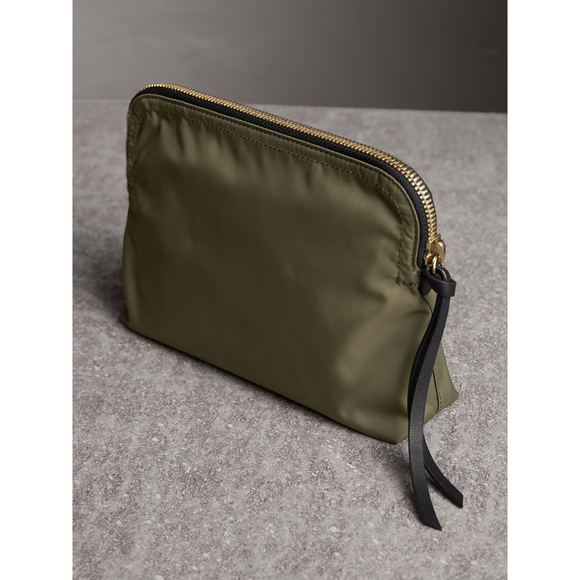 Large Zip-top Technical Nylon Pouch in Canvas Green - Women | Burberry - gallery image 4