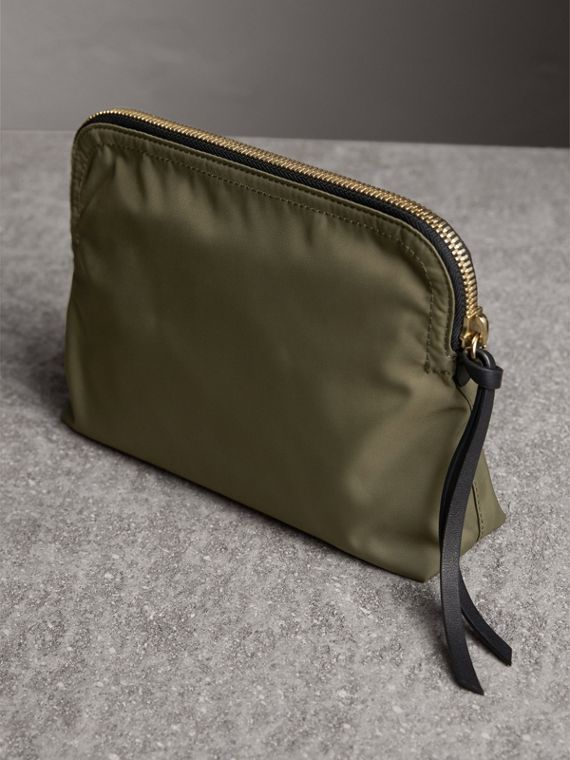 Large Zip-top Technical Nylon Pouch in Canvas Green - Women | Burberry United Kingdom - cell image 3