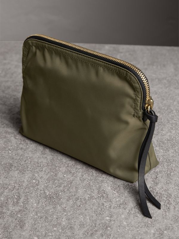 Large Zip-top Technical Nylon Pouch in Canvas Green - Women | Burberry - cell image 3