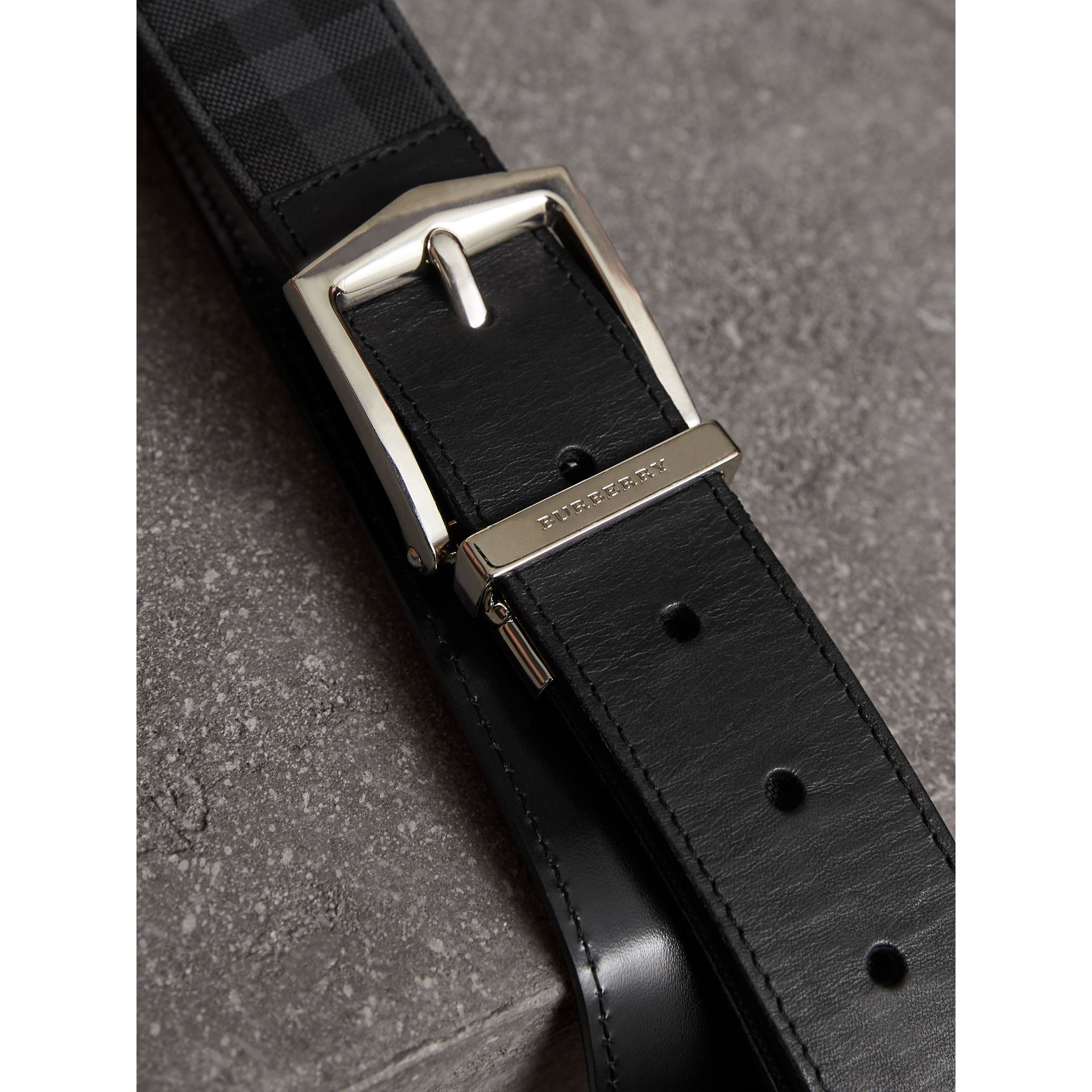 Reversible Horseferry Check and Leather Belt in Charcoal/black - Men | Burberry - gallery image 2