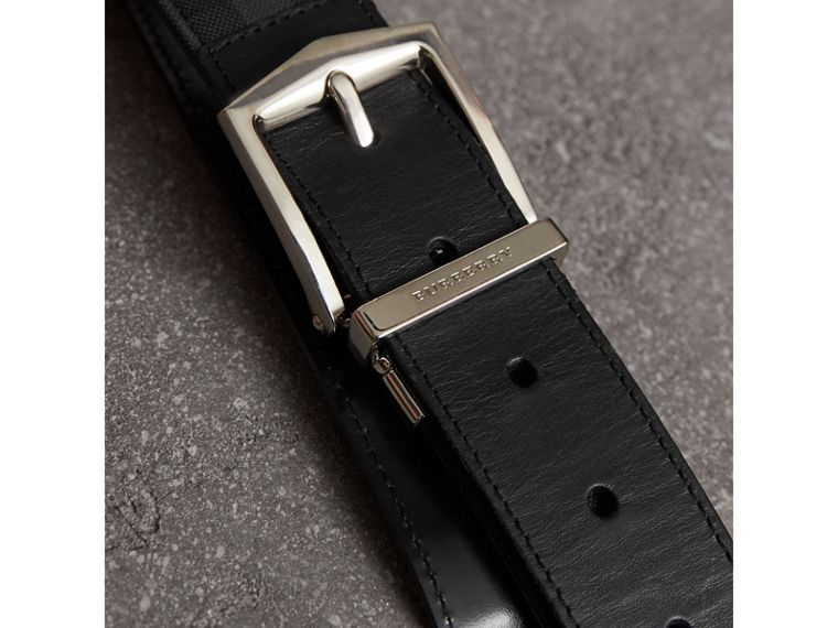 Reversible Horseferry Check and Leather Belt in Charcoal/black - Men | Burberry United States - cell image 1