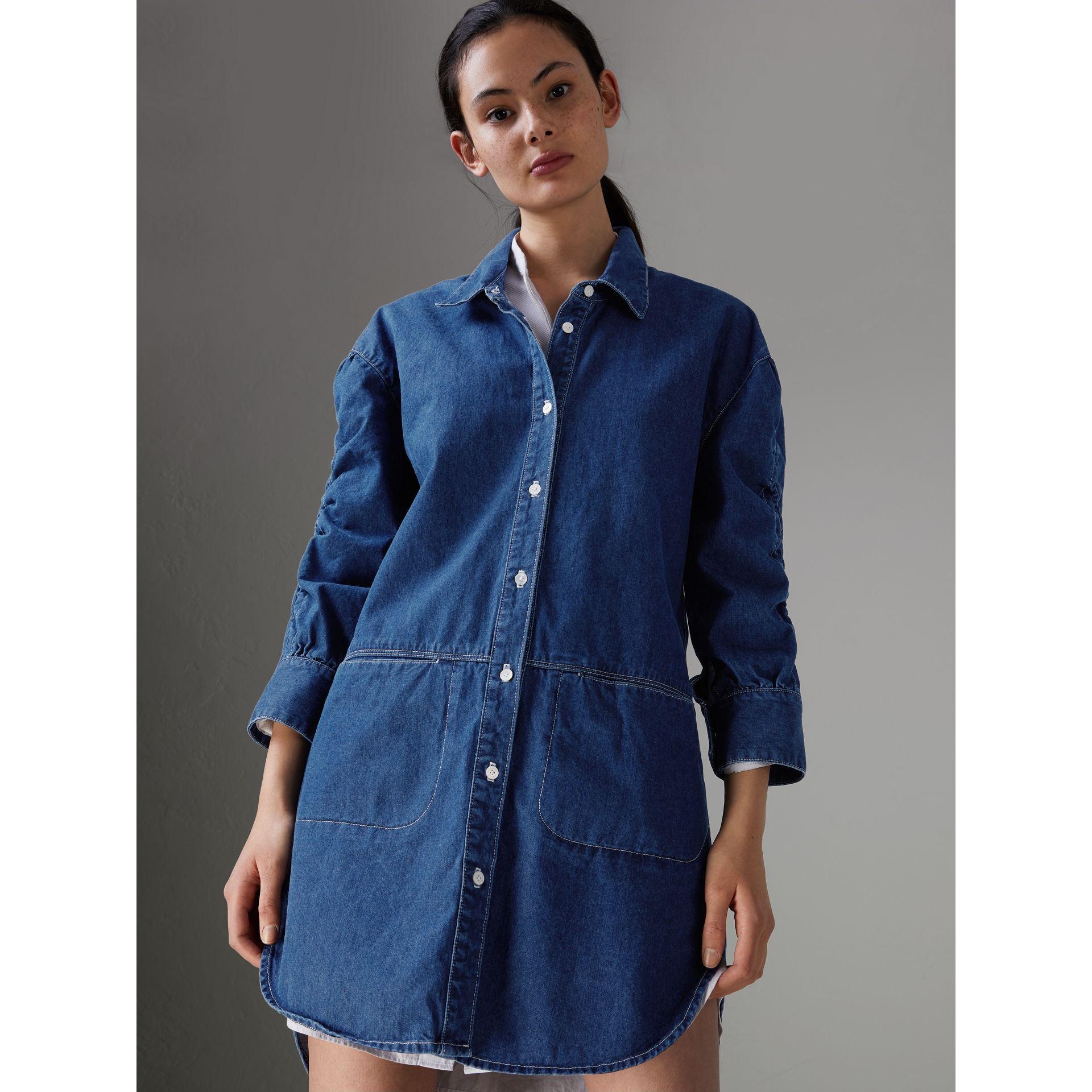 Japanese Cotton Shirt Dress in Light Indigo - Women | Burberry - gallery image 0