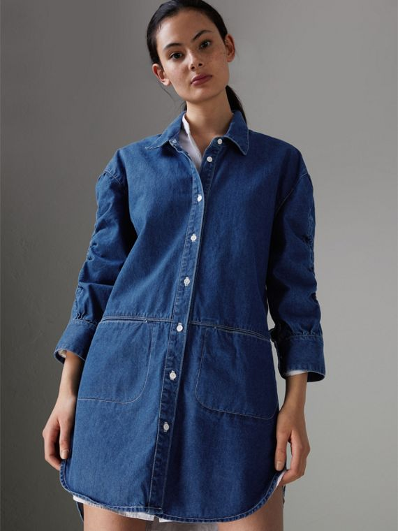 Japanese Denim Shirt Dress in Light Indigo