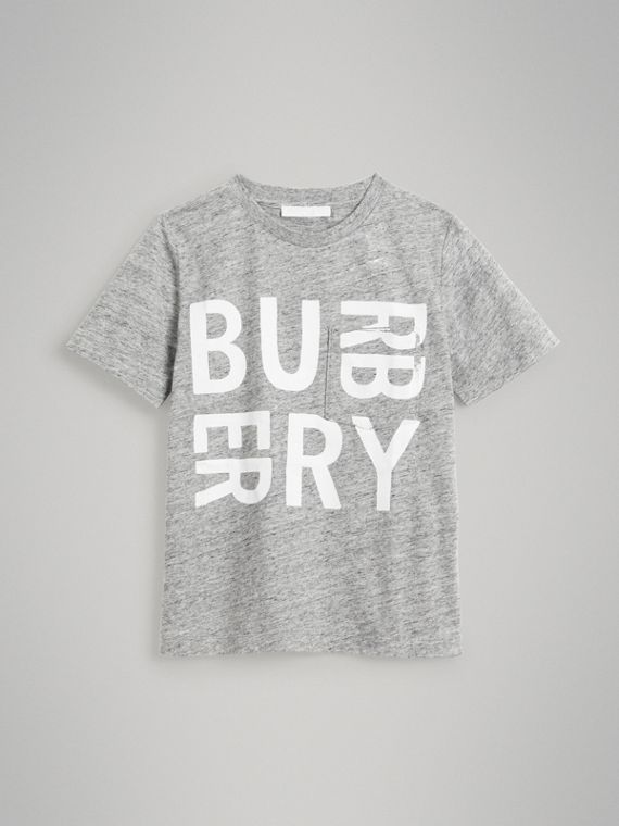 Logo Print Cotton Blend T-shirt in Grey Melange
