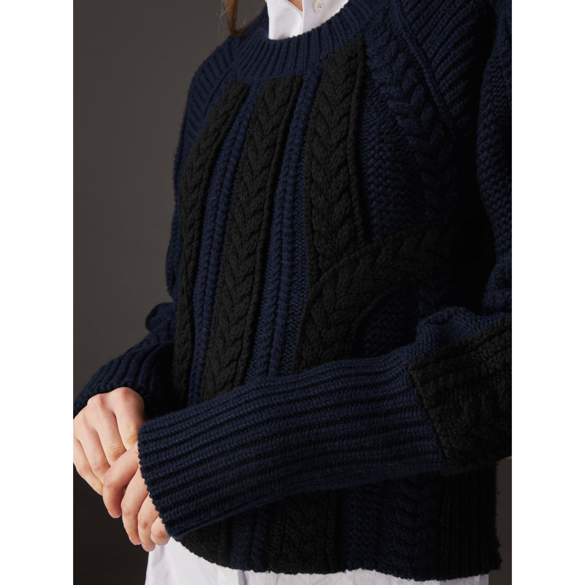 Two-tone Cable Knit Wool Cashmere Sweater in Navy - Women | Burberry - gallery image 2
