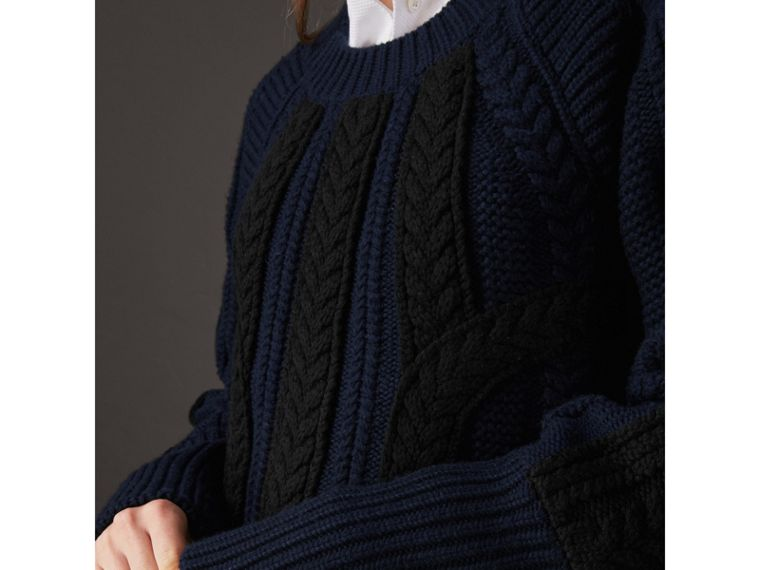 Two-tone Cable Knit Wool Cashmere Sweater in Navy - Women | Burberry - cell image 1