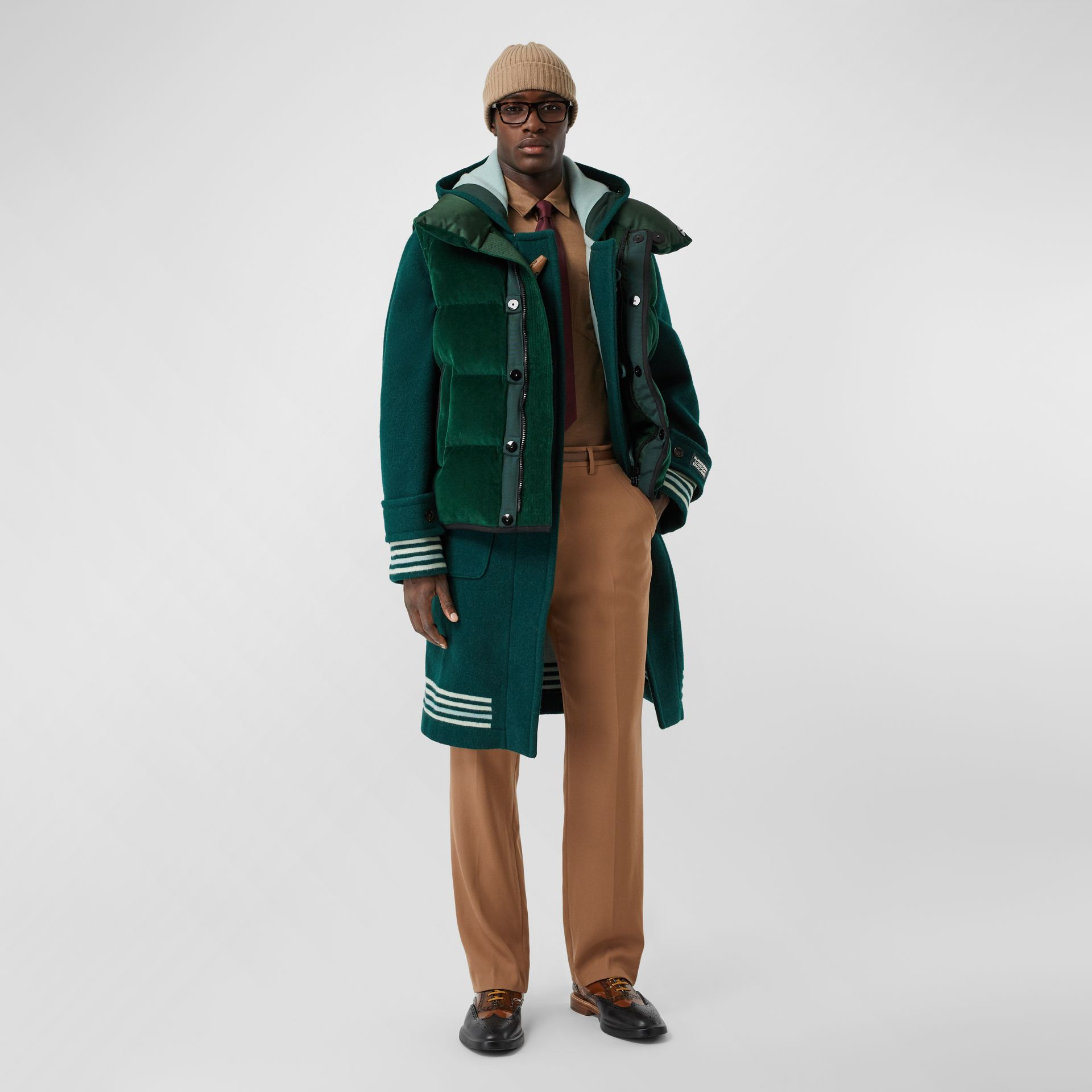Satin Trim Chenille Puffer Gilet in Pine Green - Men | Burberry - gallery image 5