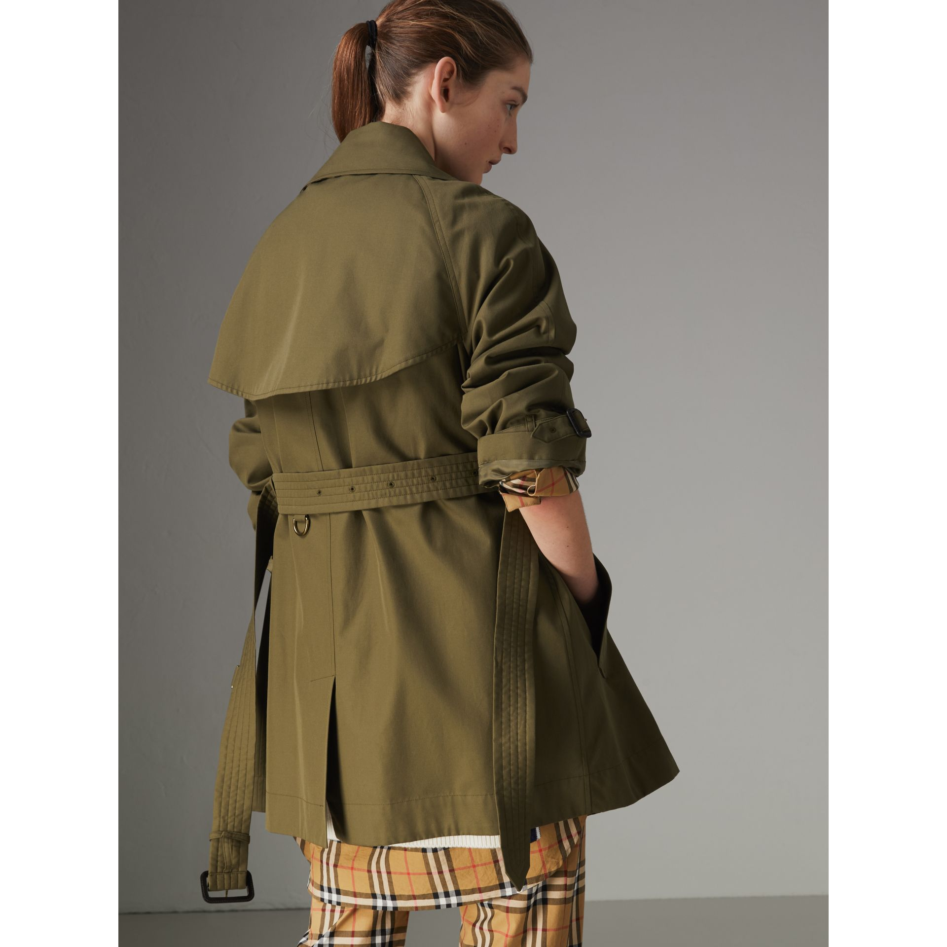 Exaggerated Collar Cotton Gabardine Trench Coat in Military Olive - Women | Burberry - gallery image 2