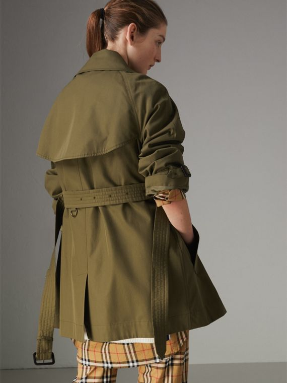 Exaggerated Collar Cotton Gabardine Trench Coat in Military Olive - Women | Burberry - cell image 2