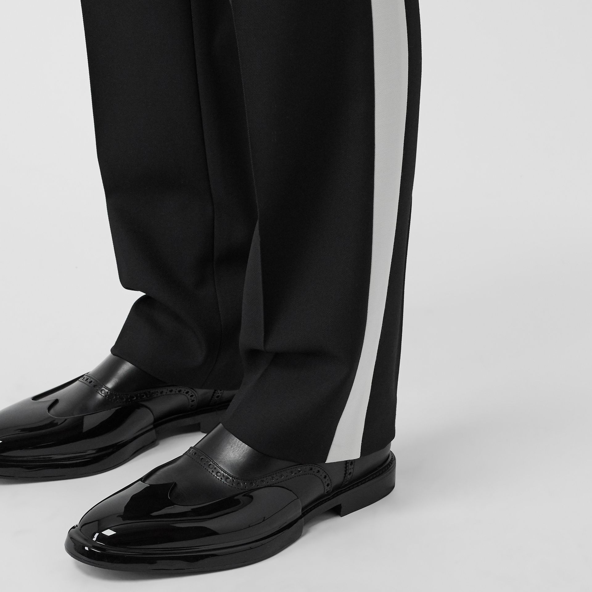 Stripe Detail Wool Twill Tailored Trousers in Black - Men | Burberry - gallery image 5