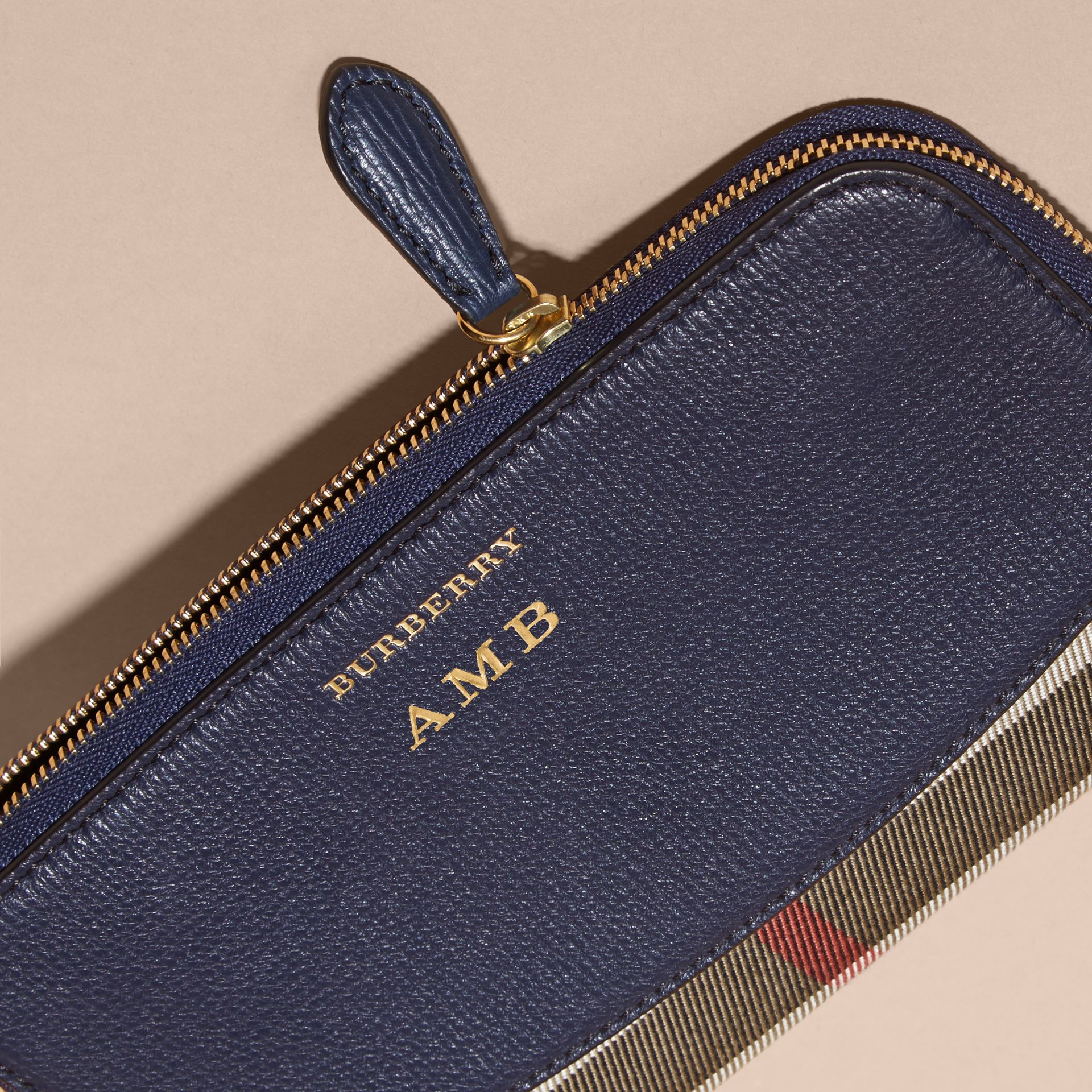House Check and Leather Ziparound Wallet Ink Blue - gallery image 7