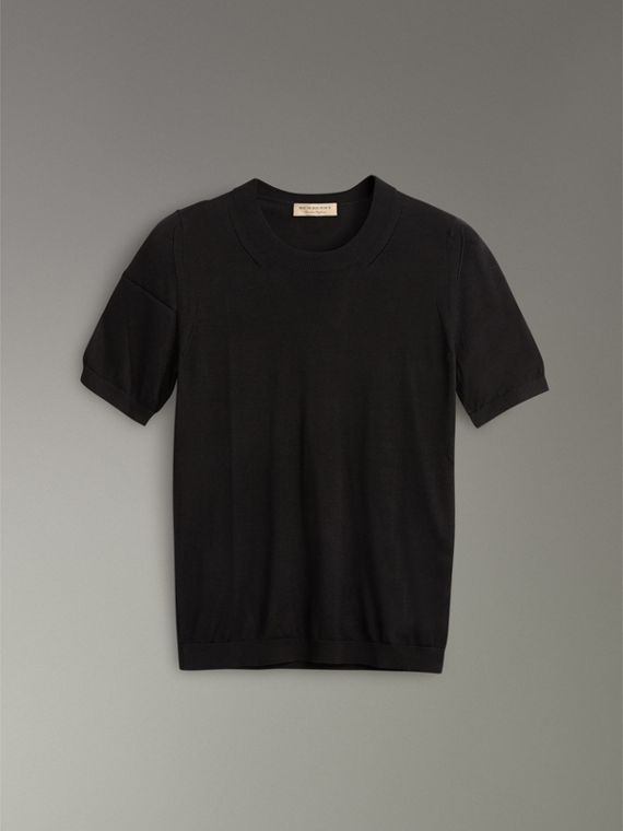 Silk Cashmere T-shirt in Black - Women | Burberry Australia - cell image 3