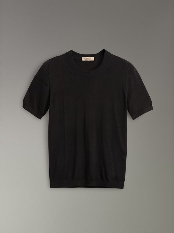 T-shirt in seta e cashmere (Nero) - Donna | Burberry - cell image 3
