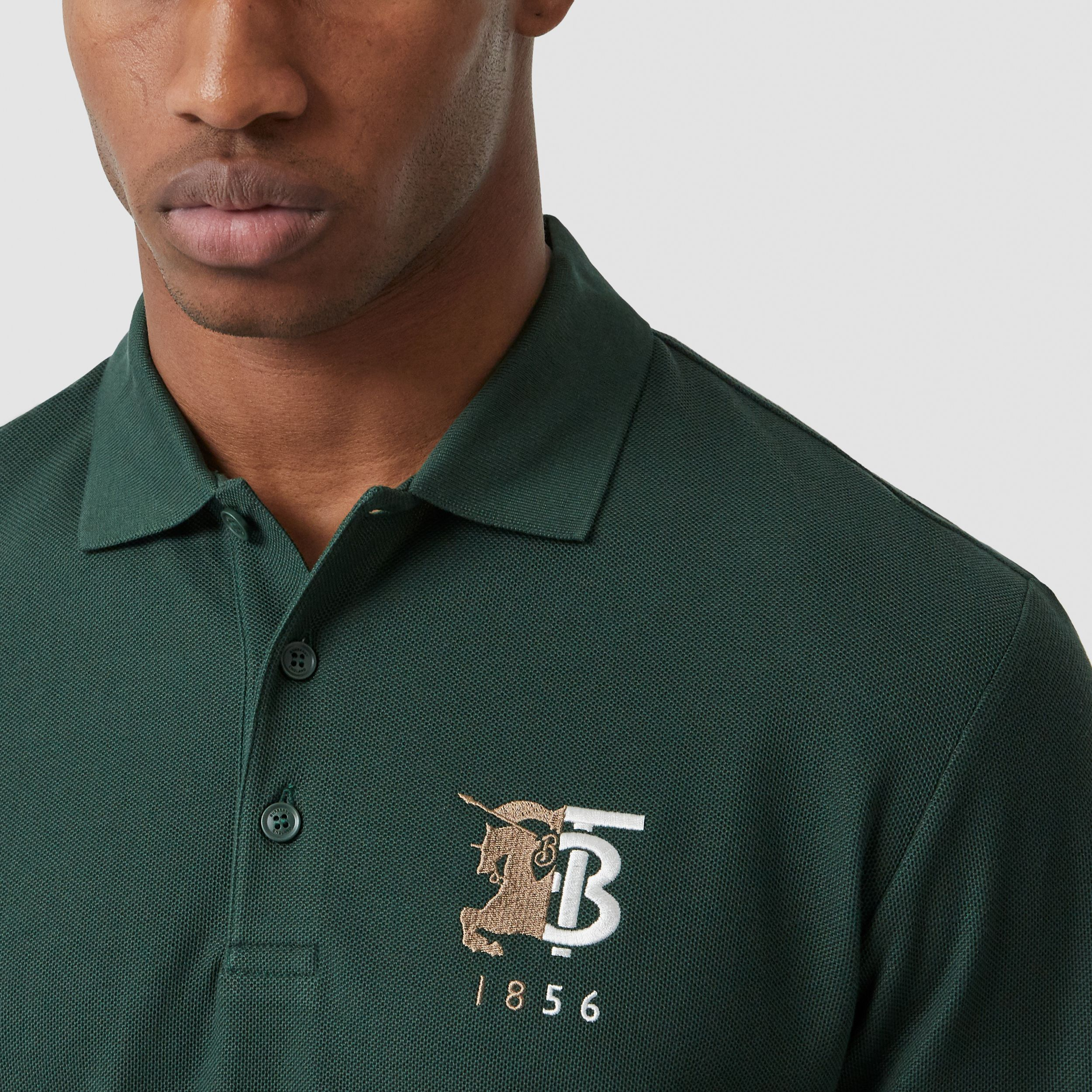 Long-sleeve Contrast Logo Graphic Cotton Polo Shirt in Dark Pine Green - Men | Burberry - 2
