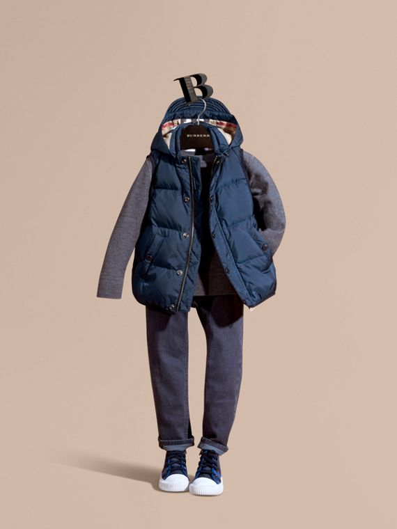 Down-filled Hooded Gilet in Ink Blue - Boy | Burberry Singapore