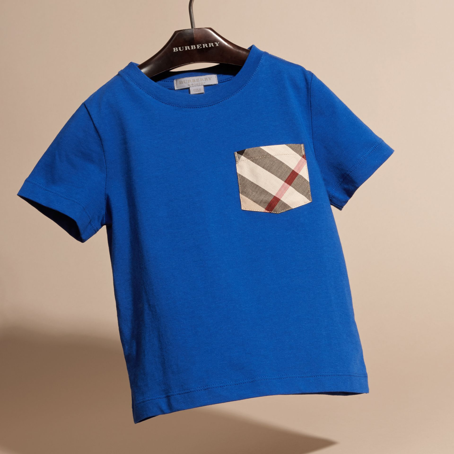 Check Pocket Cotton T-shirt in Brilliant Blue - gallery image 3