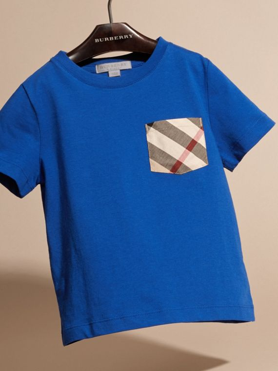 Check Pocket Cotton T-shirt in Brilliant Blue - cell image 2