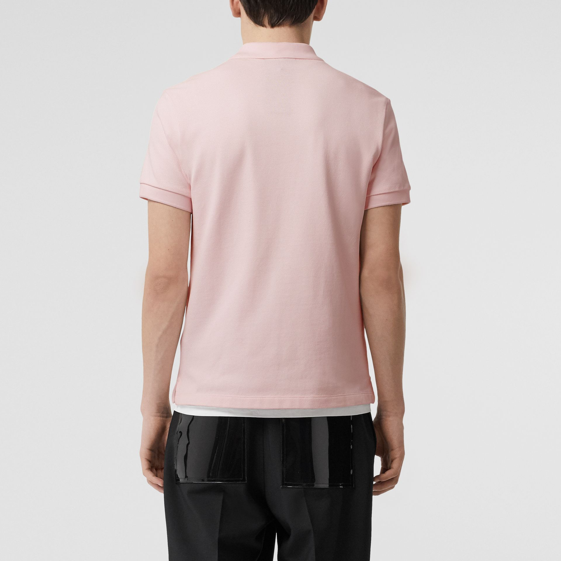Check Placket Cotton Polo Shirt in Alabaster Pink - Men | Burberry - gallery image 2