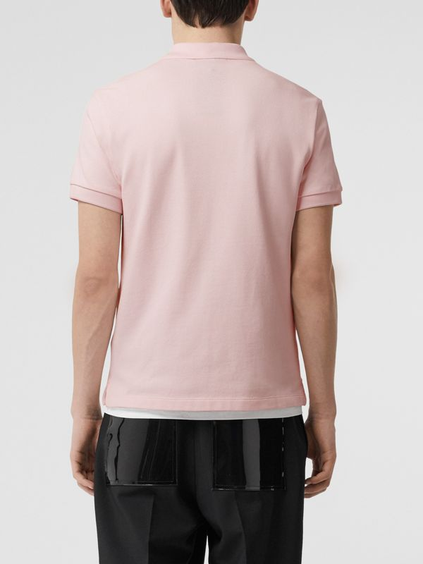 Check Placket Cotton Polo Shirt in Alabaster Pink - Men | Burberry - cell image 2