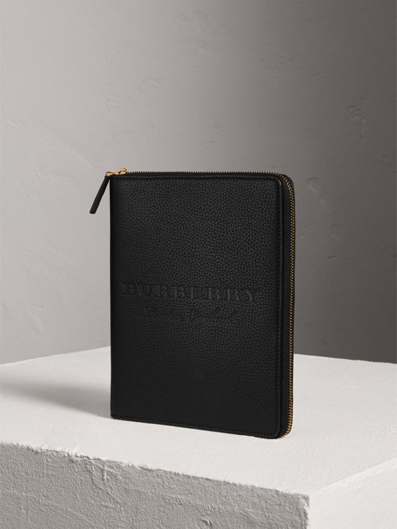 Embossed Leather Ziparound A5 Notebook Case in Black