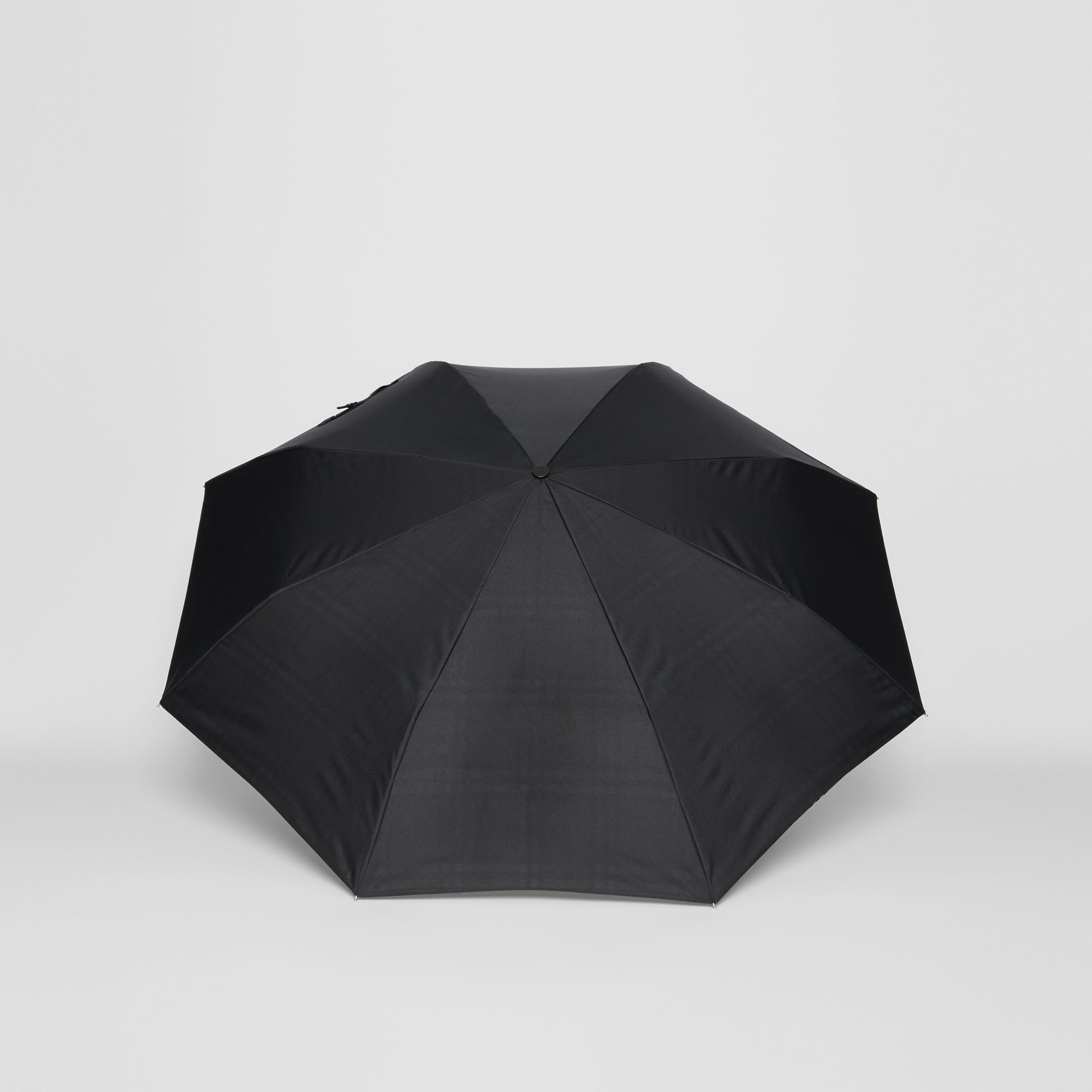 Vintage Check-lined Folding Umbrella in Black | Burberry - gallery image 4
