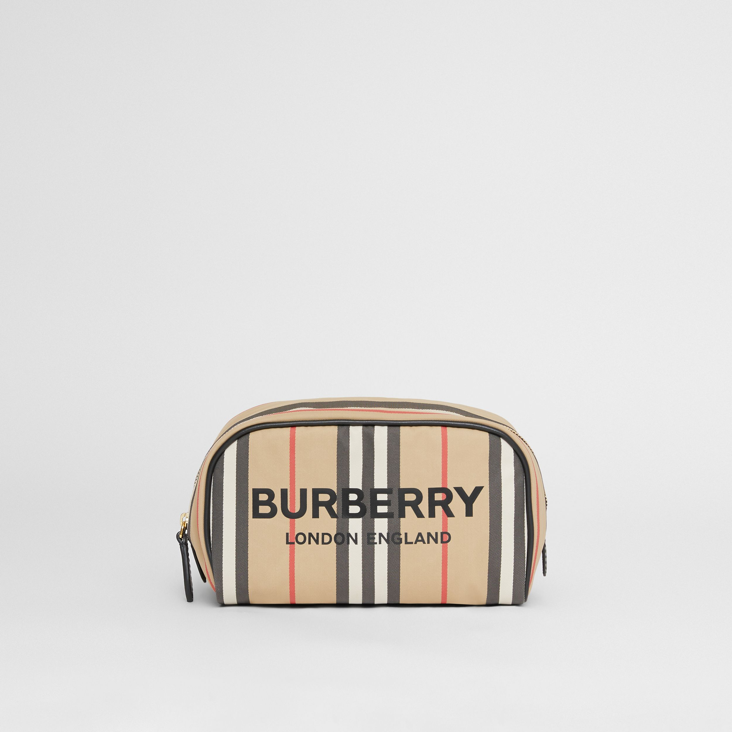 Small Icon Stripe ECONYL® Travel Pouch in Archive Beige - Women | Burberry - 1