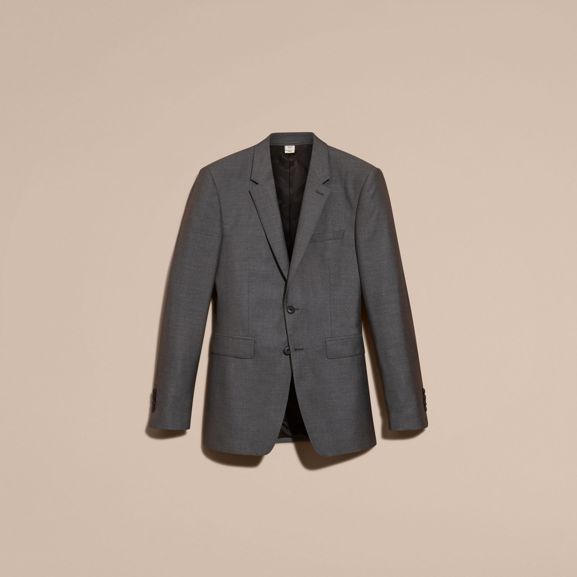 Dark grey melange Modern Fit Wool Silk Half-canvas Suit - gallery image 4