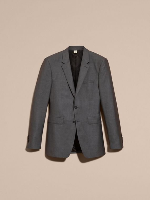 Dark grey melange Modern Fit Wool Silk Half-canvas Suit - cell image 3