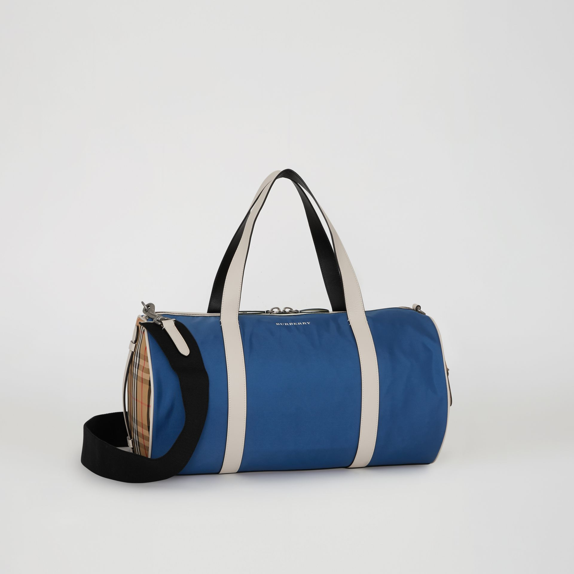 Medium Colour Block Vintage Check Barrel Bag in Dark Canvas Blue - Men | Burberry Singapore - gallery image 6