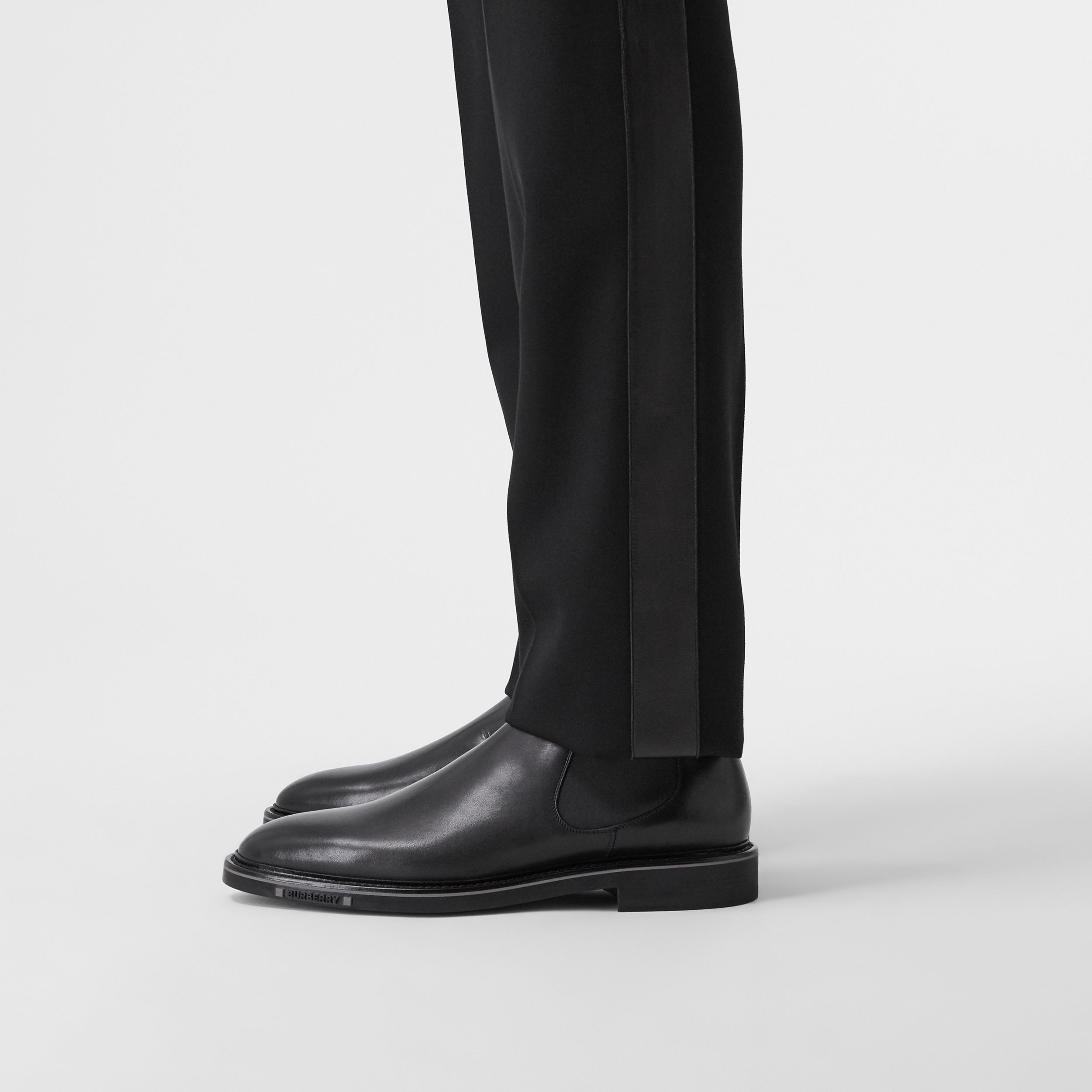 Logo Detail Leather Chelsea Boots in Black - Men | Burberry - 3