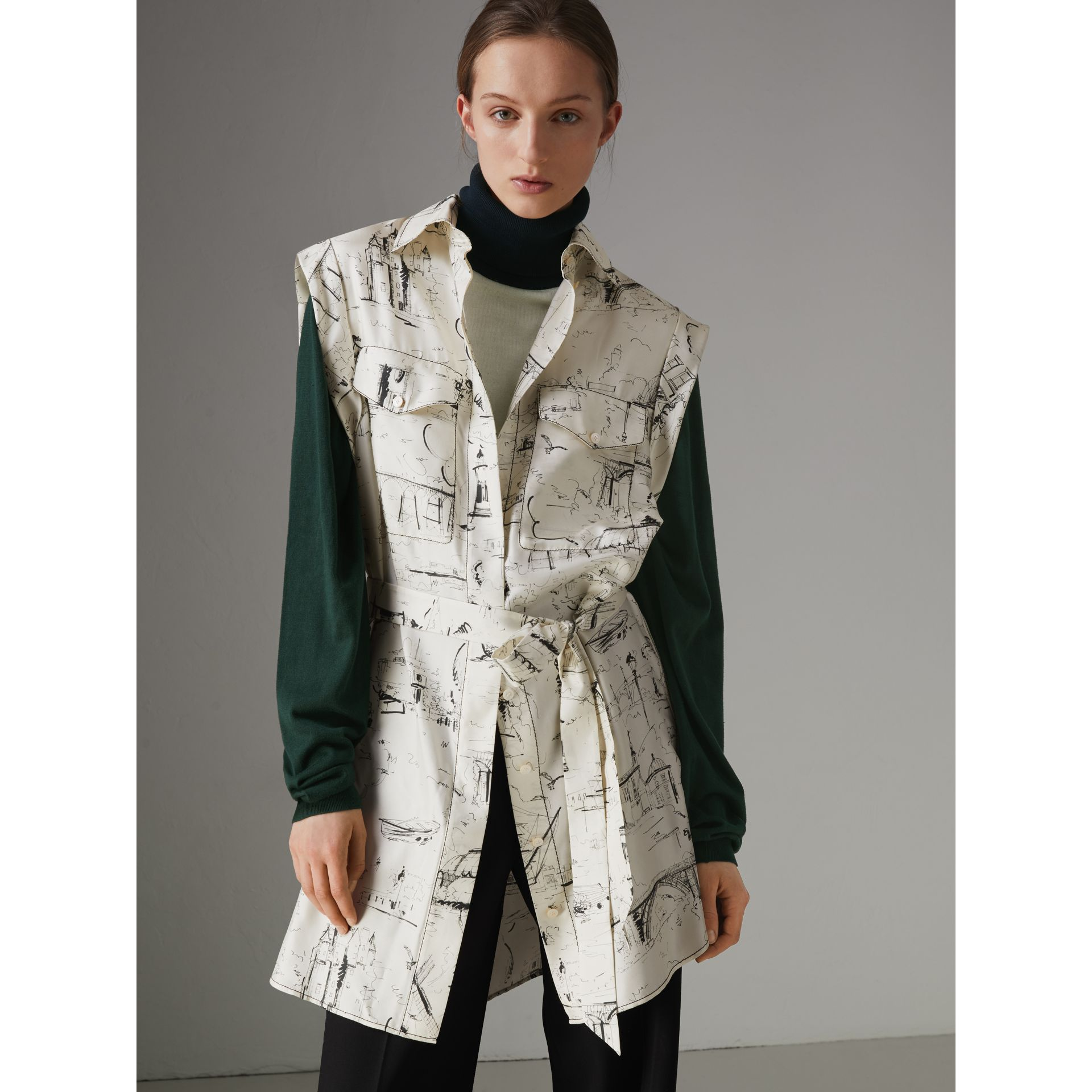 Landmark Print Silk Shirt Dress in Off White/ Black - Women | Burberry United Kingdom - gallery image 5