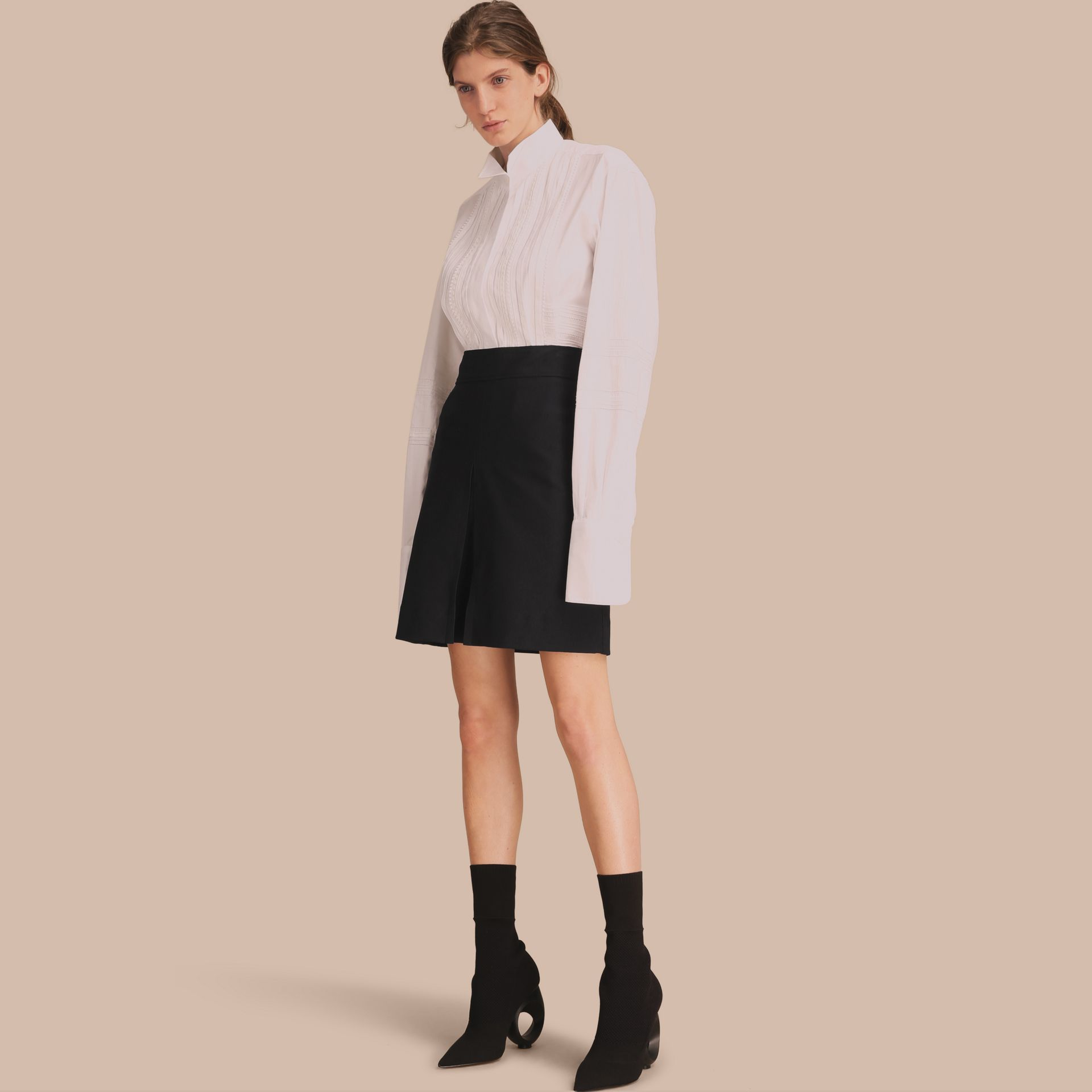 Stretch A-line Technical Skirt with Pleat Detail - Women   Burberry - gallery image 1
