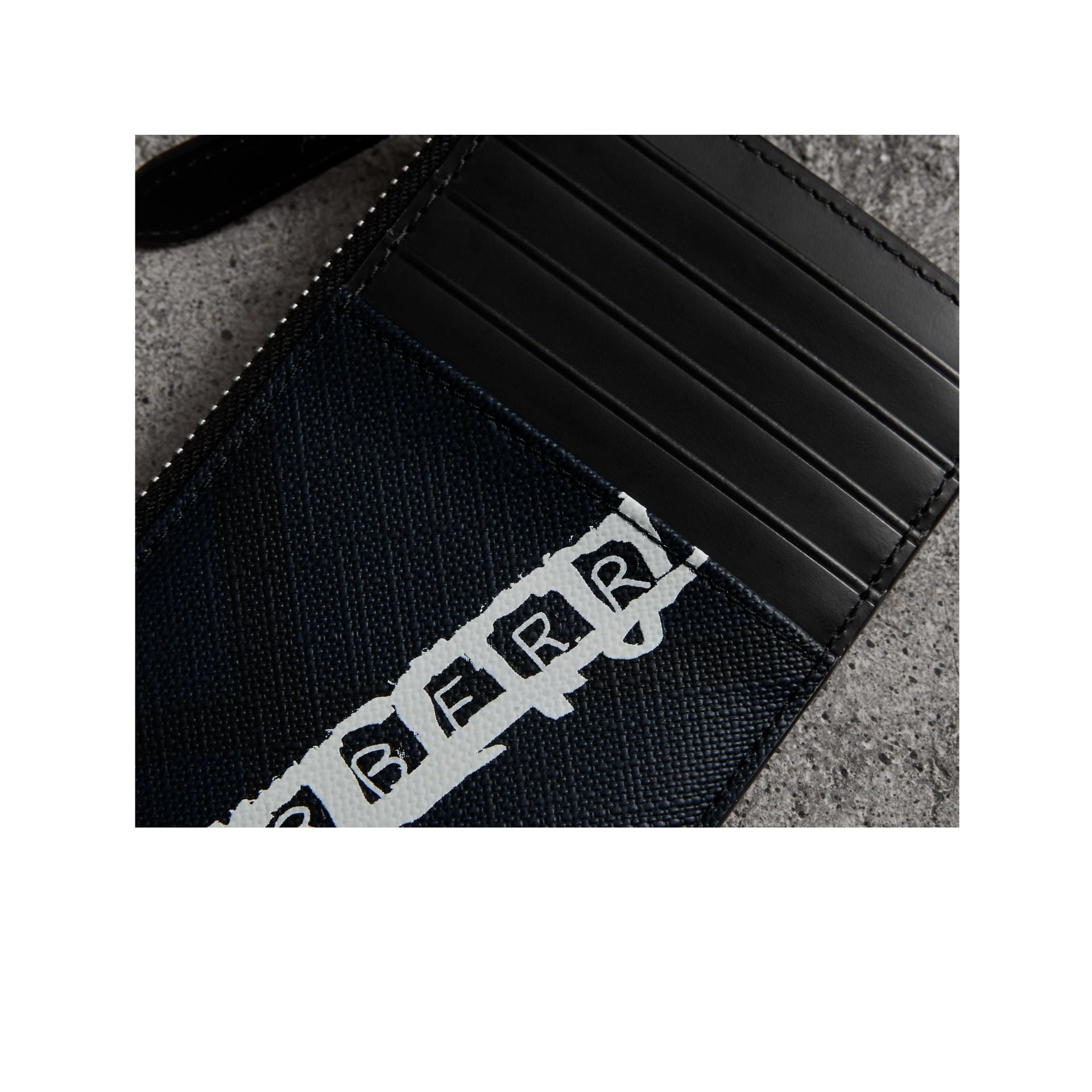 Porte-cartes zippé à motif London check avec logo imprimé (Anthracite) | Burberry Canada - photo de la galerie 1