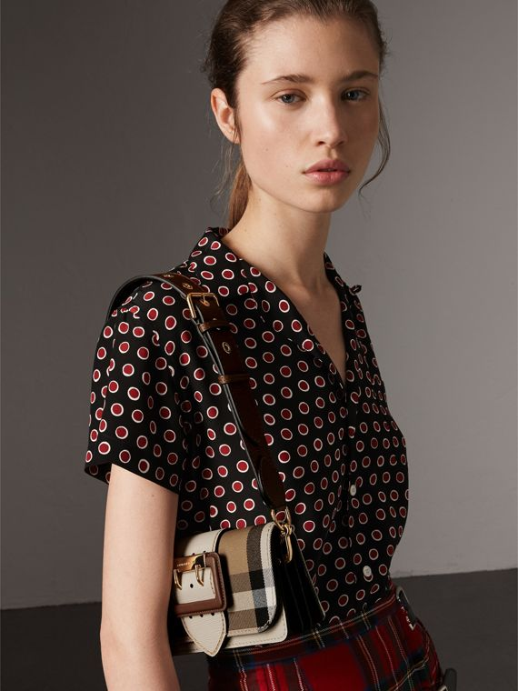The Small Buckle Bag in House Check and Leather in Limestone - Women | Burberry Australia - cell image 2