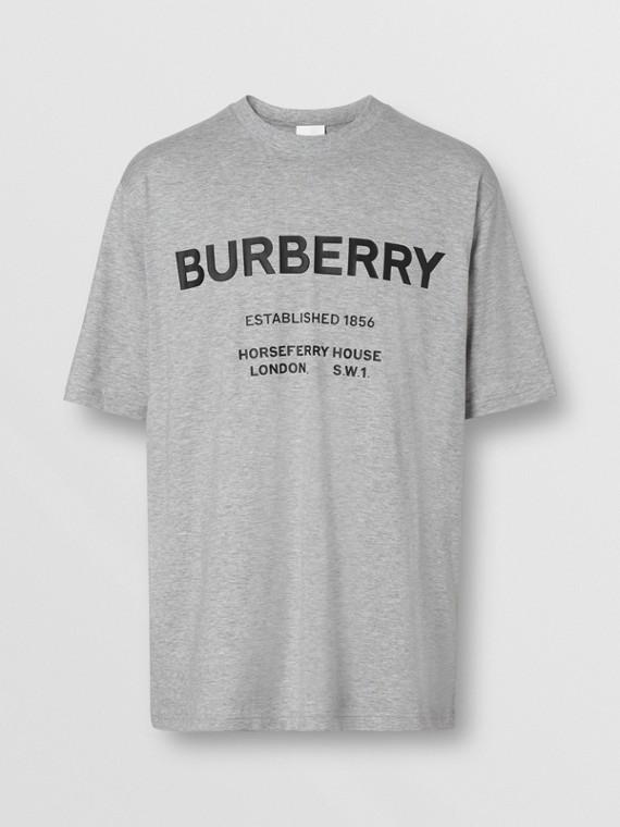 Horseferry Print Cotton T-shirt in Pale Grey Melange