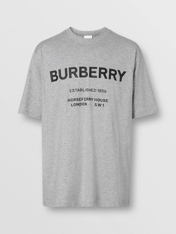 Horseferry Print Cotton T-shirt in Pale Grey Melange - Men | Burberry - cell image 3