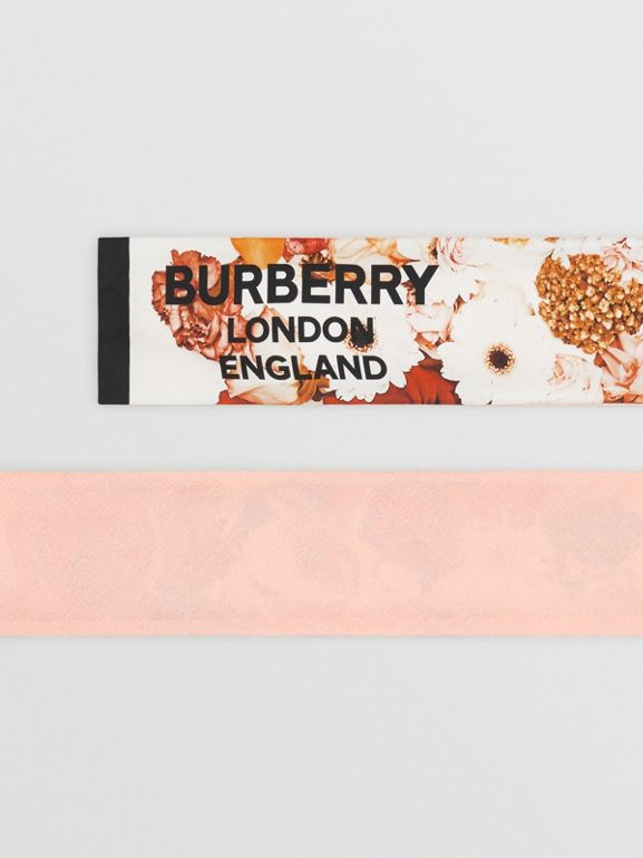 Floral Print Silk Skinny Scarf in Multicolour | Burberry United States - cell image 1