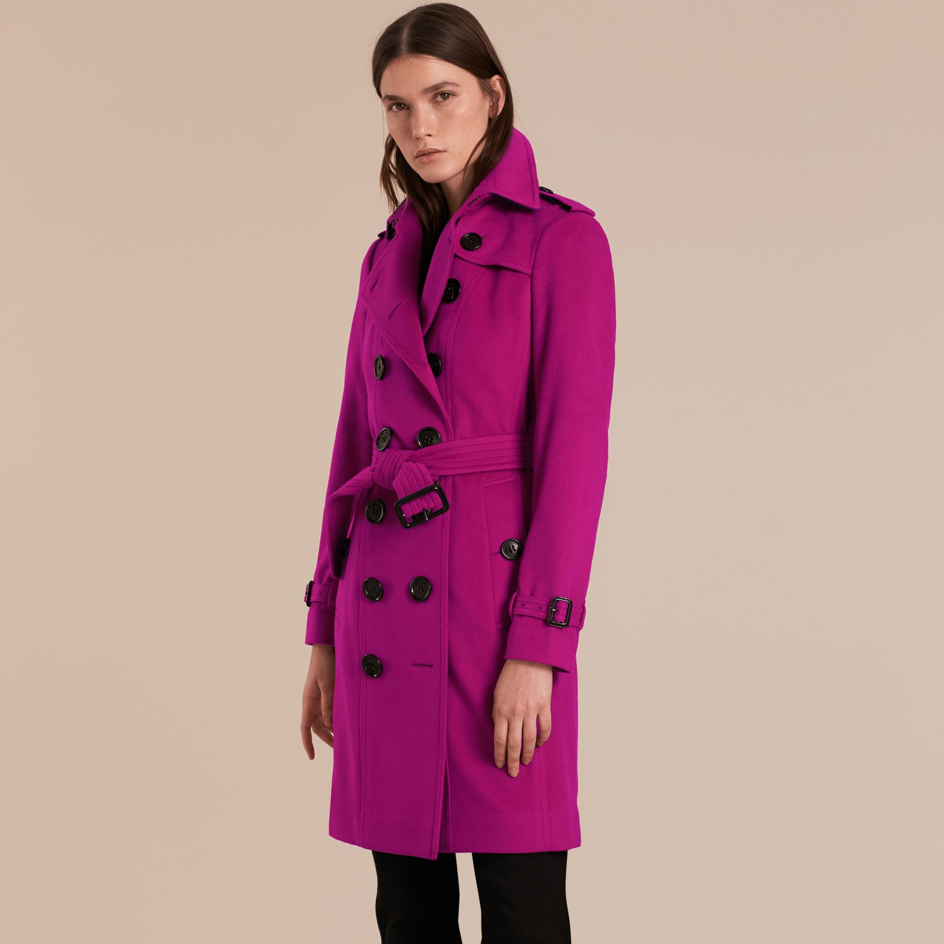 Sandringham Fit Cashmere Trench Coat Fuchsia - gallery image 6