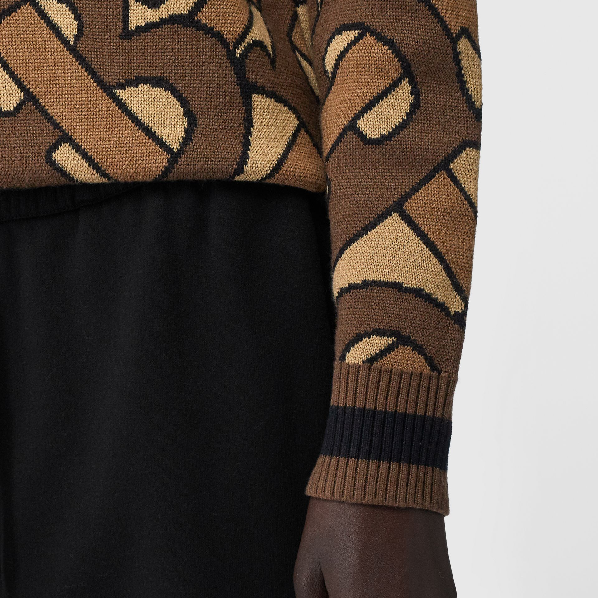 Monogram Intarsia Wool V-neck Sweater in Bridle Brown - Women | Burberry - gallery image 4