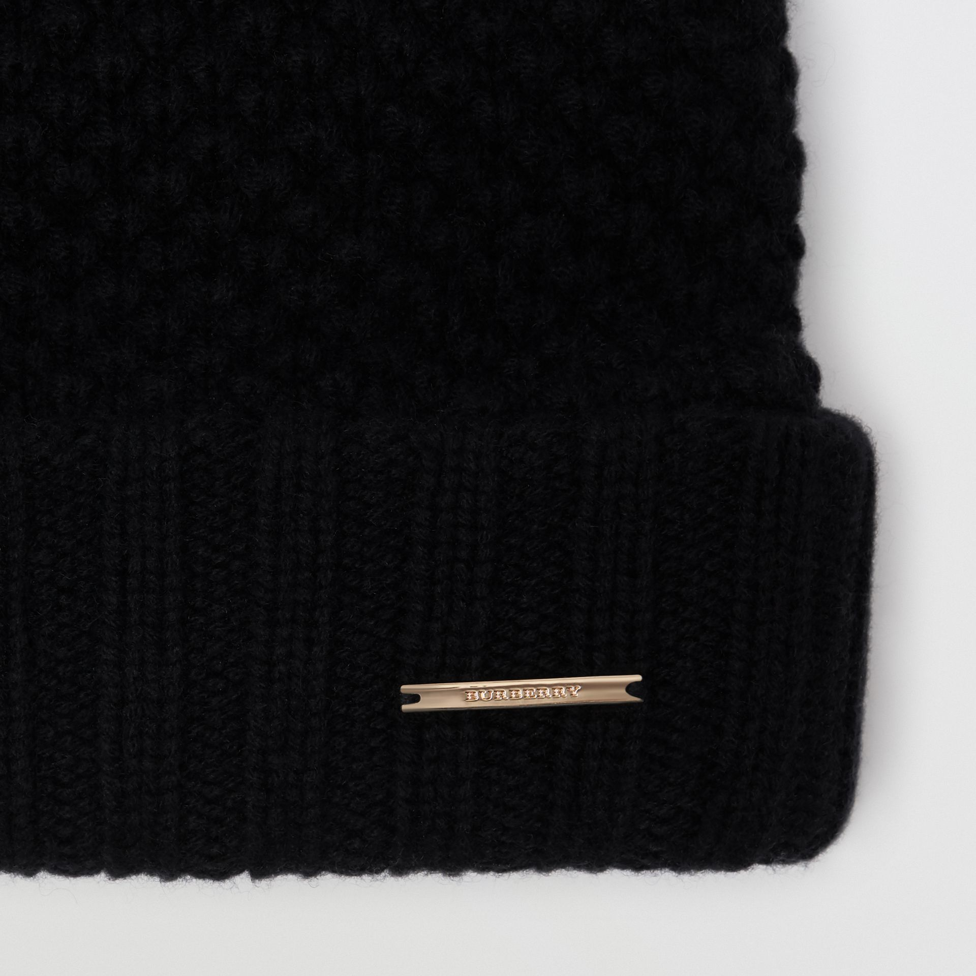 Fur Pom-Pom Beanie in Black - Women | Burberry - gallery image 1