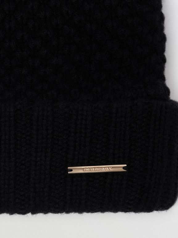 Fur Pom-Pom Beanie in Black | Burberry Singapore - cell image 1