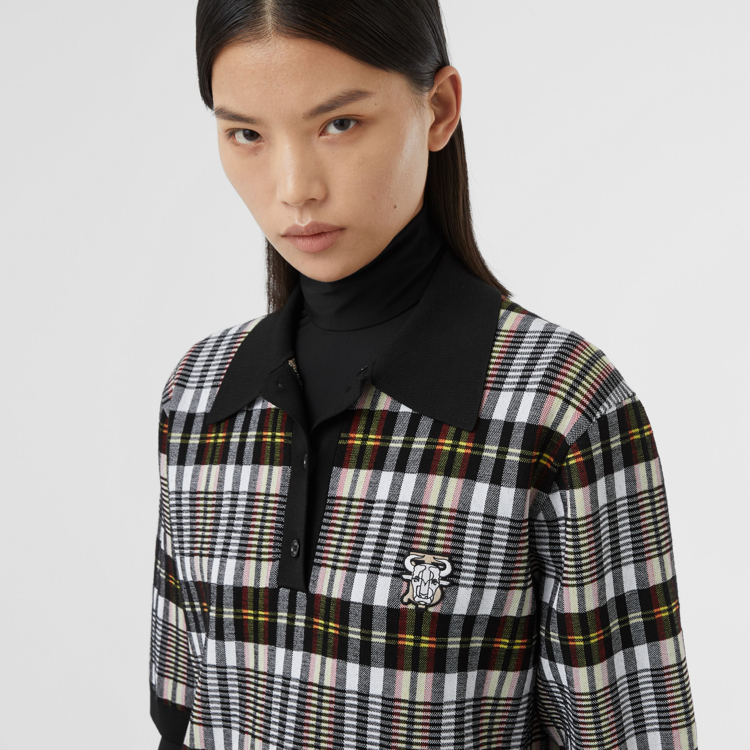 Monogram Motif Check Oversized Polo Shirt in Marigold Yellow - Women | Burberry - 2