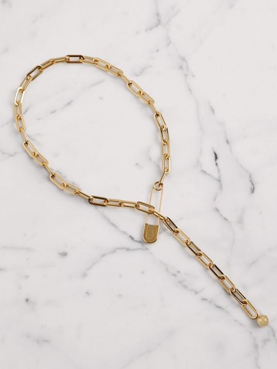 蘇格蘭裙別針鍍金長鍊項鍊 (淺金色)