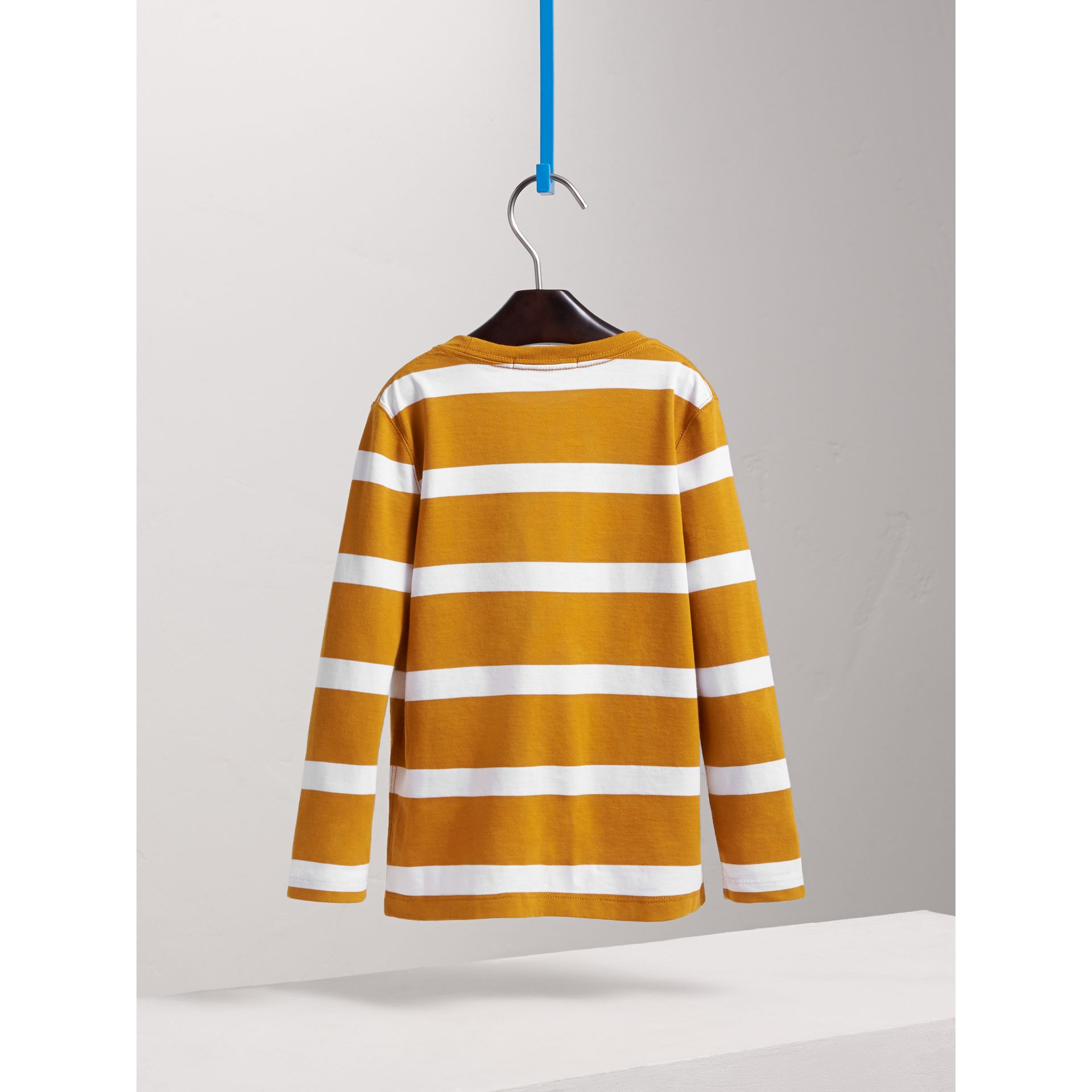 Long-sleeve Striped Cotton T-shirt in Ochre Yellow/white - Boy | Burberry Australia - gallery image 4