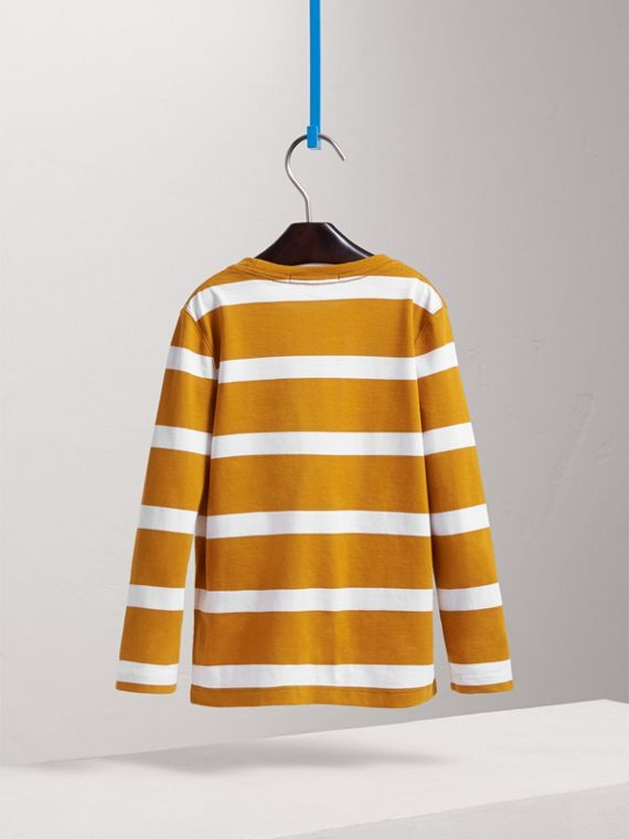Long-sleeve Striped Cotton T-shirt in Ochre Yellow/white - Boy | Burberry - cell image 3
