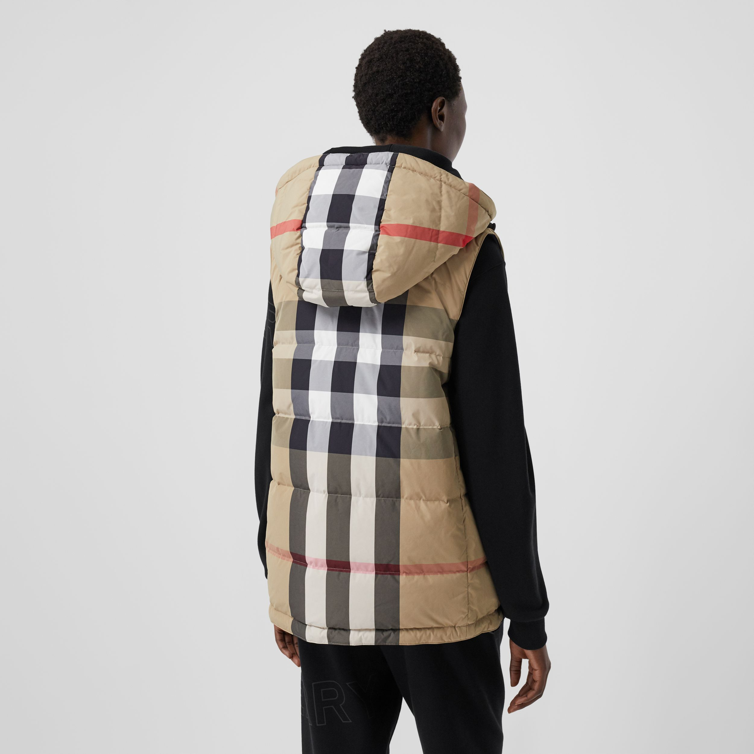 Reversible Recycled Nylon Re:Down® Puffer Gilet in Archive Beige - Women | Burberry - 3