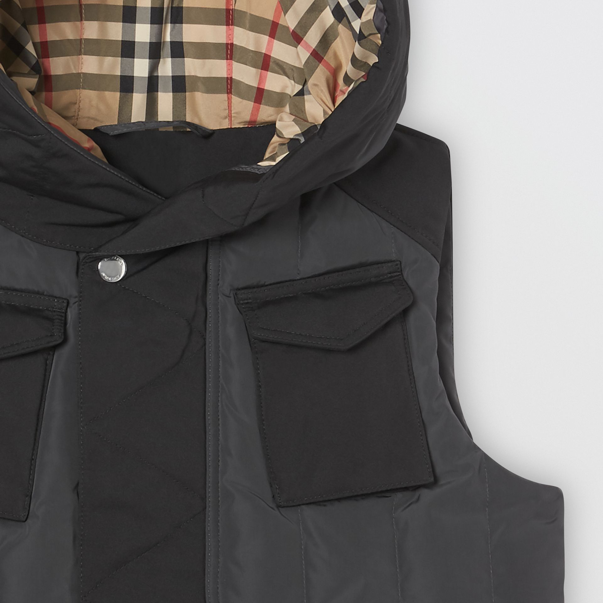 Down-filled Hooded Puffer Gilet in Dark Charcoal | Burberry Canada - gallery image 3