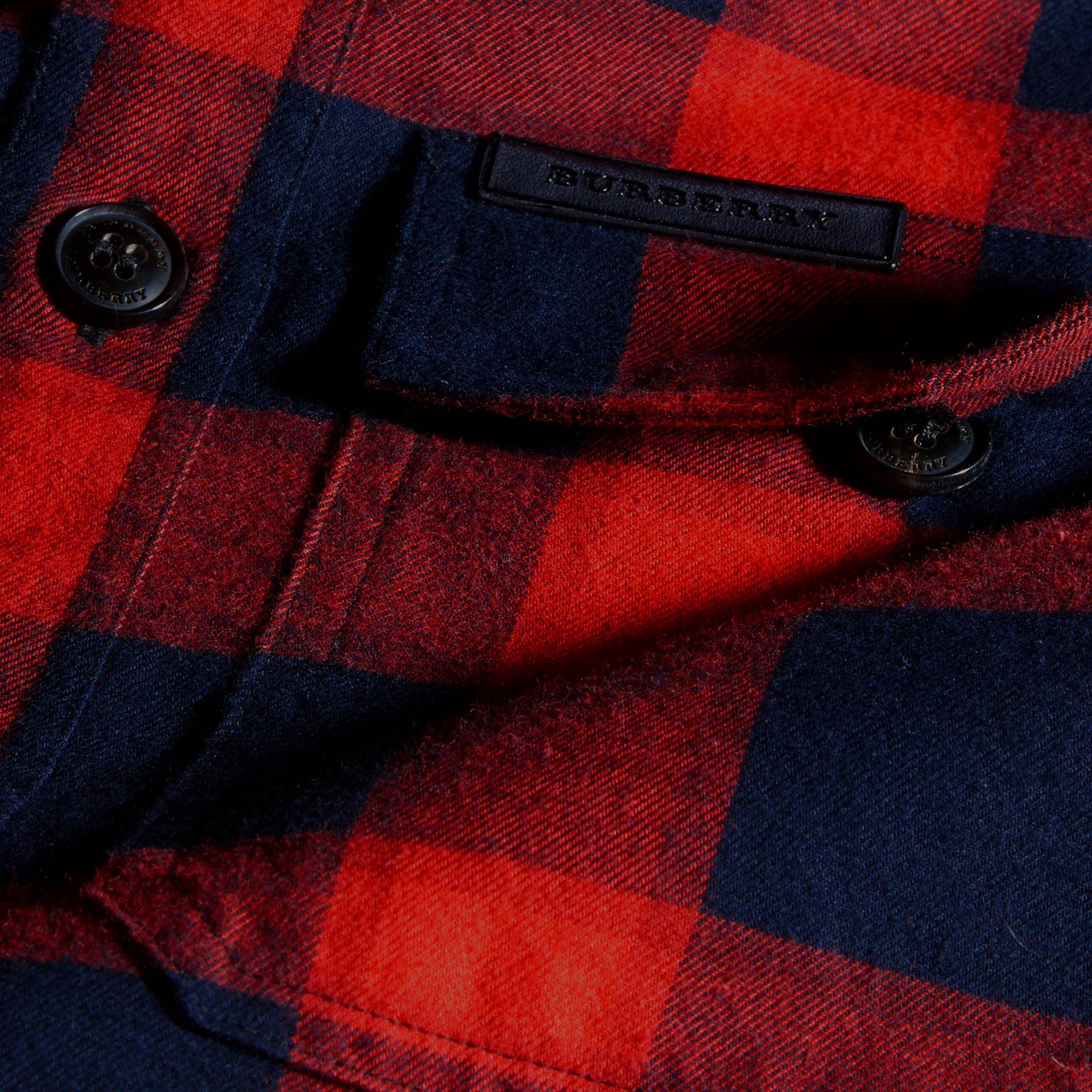 Parade red Buffalo Check Cotton Flannel Shirt Parade Red - gallery image 2