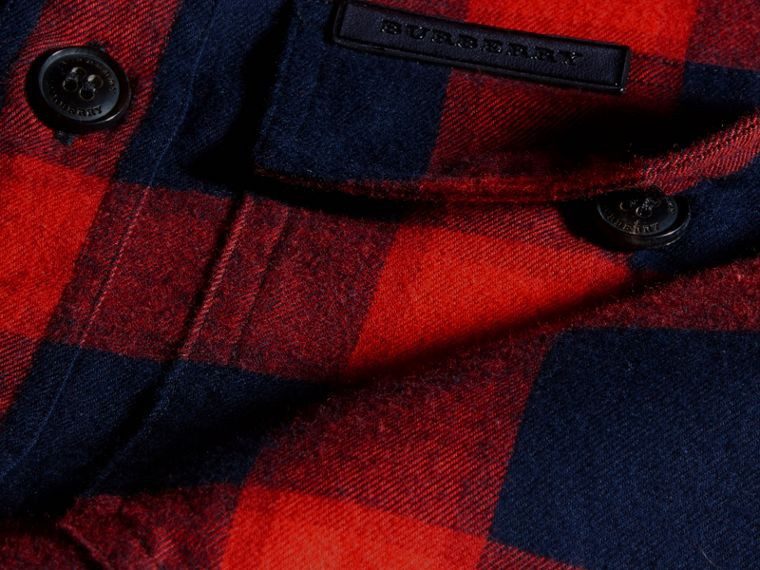 Rosso parata Camicia in flanella di cotone a quadri Rosso Parata - cell image 1